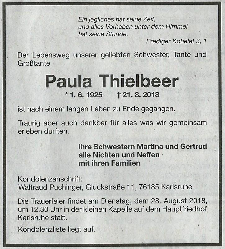 Paula Thielbeer War Viele Jahre Beim FA Karlsruhe DSt FeU Beschaftigt